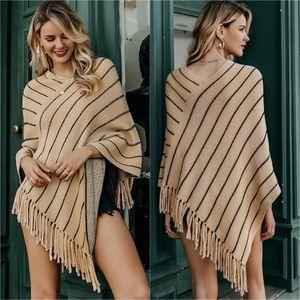 Sweaters - Fringe Asymmetrical Stripe Poncho Sweater